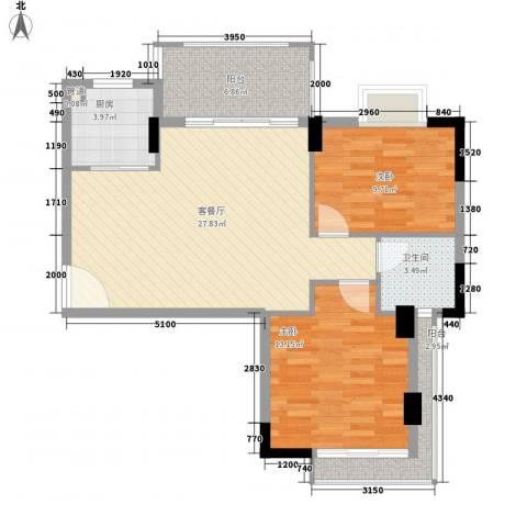 富盈山水华府2室1厅1卫1厨85.00㎡户型图