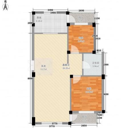 海上郡2室0厅1卫1厨87.00㎡户型图