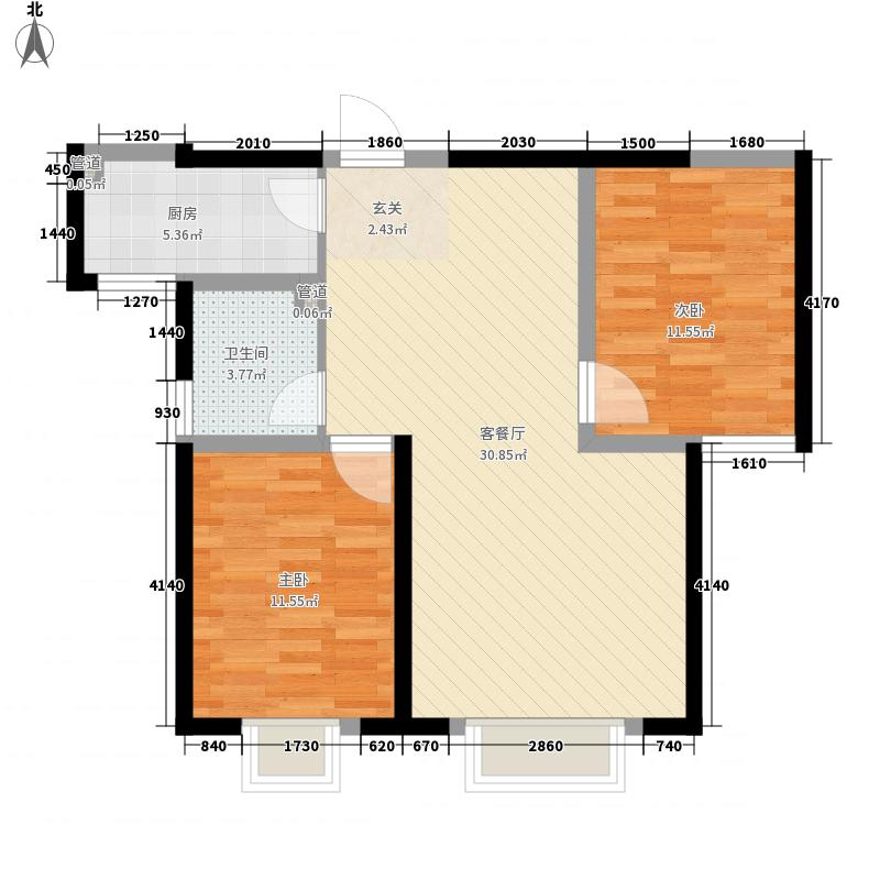 凯悦华庭二期7.78㎡1#2#号楼4号户型2室2厅1卫1厨