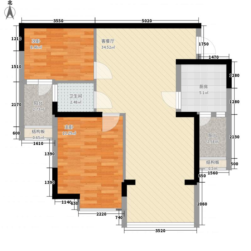 世贸西城8.40㎡L户型2室2厅1卫1厨
