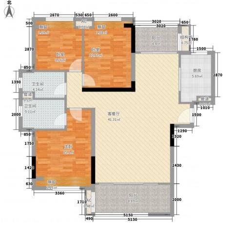 怡翠花园1室1厅2卫1厨111.00㎡户型图