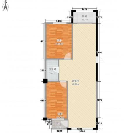 八一新居2室1厅1卫1厨118.00㎡户型图