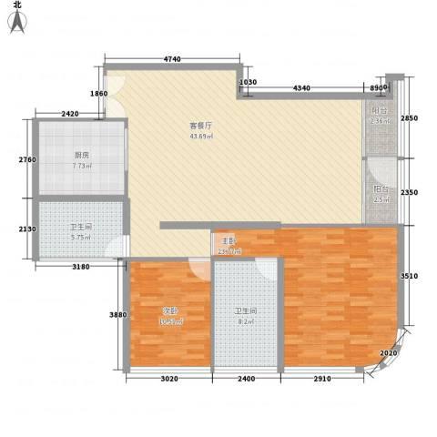 北京财富中心二期2室1厅2卫1厨142.00㎡户型图