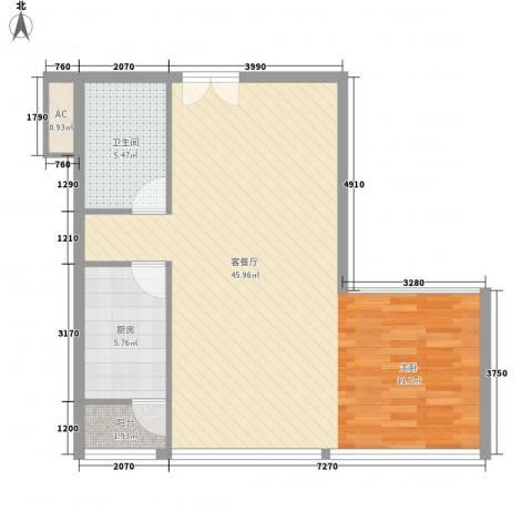 北京财富中心二期1厅1卫1厨83.00㎡户型图