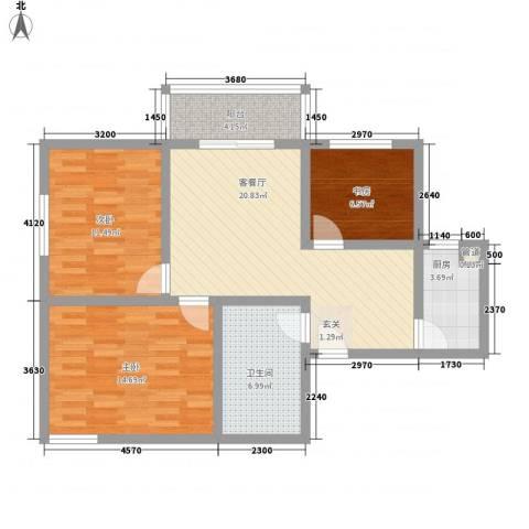 珠峰苑3室1厅1卫1厨100.00㎡户型图