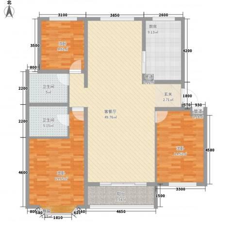 时代庭园3室1厅2卫1厨165.00㎡户型图