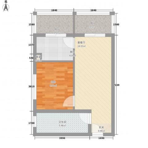 珠峰苑1室1厅1卫1厨62.00㎡户型图