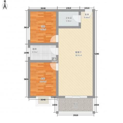 珠峰苑2室1厅1卫1厨89.00㎡户型图