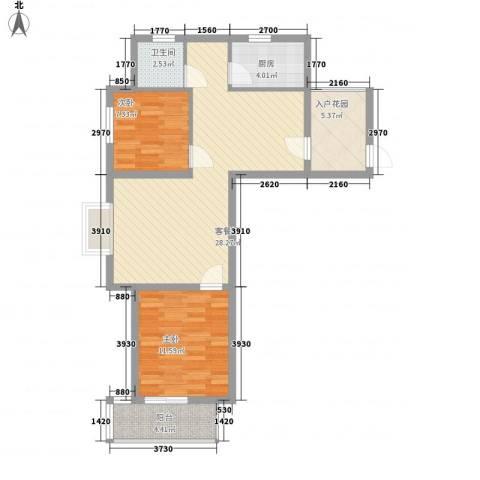 南艳滨湖时光2室1厅1卫1厨83.00㎡户型图