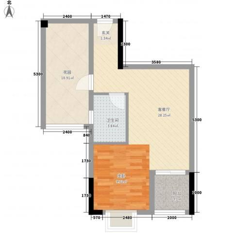 嘉利豪庭1厅1卫0厨59.00㎡户型图