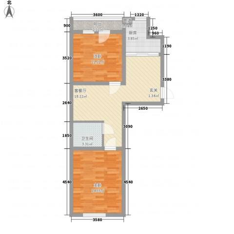 荣旺天下2室1厅1卫1厨78.00㎡户型图