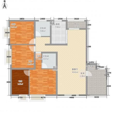彩虹国际公寓4室1厅2卫1厨178.00㎡户型图