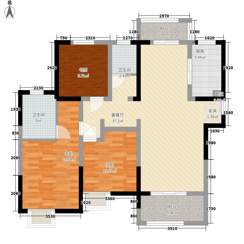 华润橡树湾129.00㎡华润橡树湾户型图二期K2户型3室2厅2卫1厨户型3室2厅2卫1厨