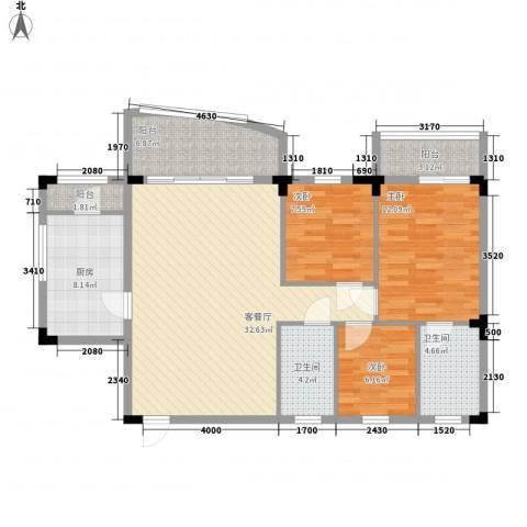 侨苑山庄3室1厅2卫1厨123.00㎡户型图