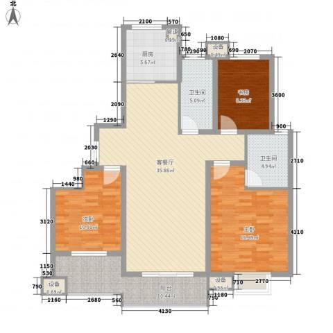 佳源・名人国际花园3室1厅2卫1厨142.00㎡户型图