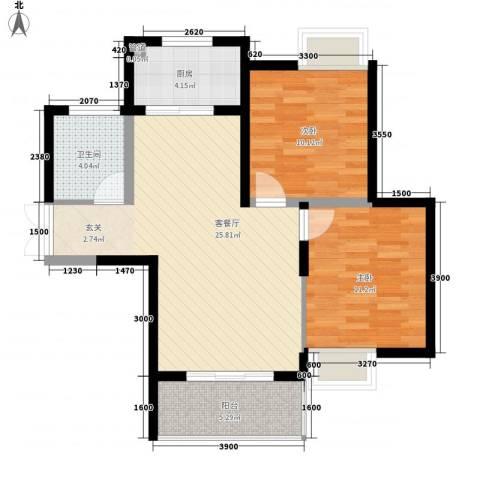 太华路鑫园小区2室1厅1卫1厨87.00㎡户型图