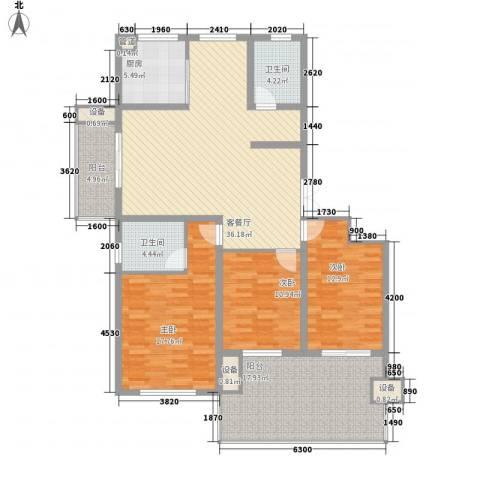 佳源・名人国际花园3室1厅2卫1厨166.00㎡户型图