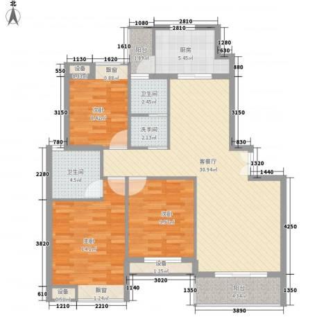 雍福上城3室1厅2卫1厨98.13㎡户型图