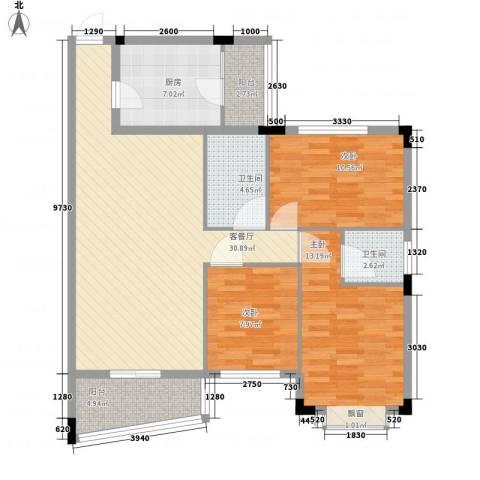 侨苑山庄3室1厅2卫1厨118.00㎡户型图