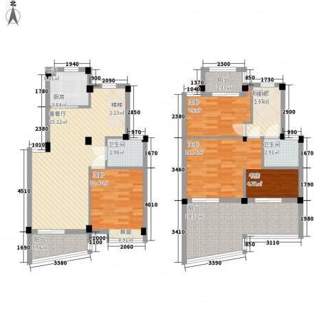 南艳滨湖时光3室1厅2卫1厨136.00㎡户型图