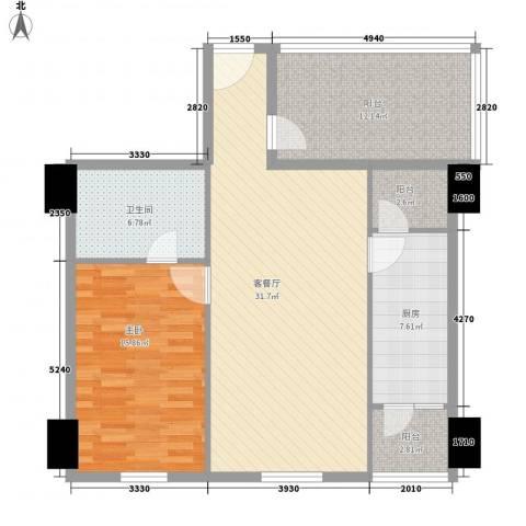 时代广场1室1厅1卫1厨114.00㎡户型图