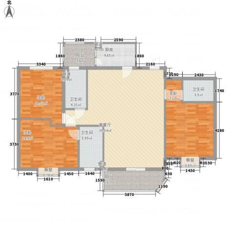 美景花园3室1厅3卫1厨160.00㎡户型图