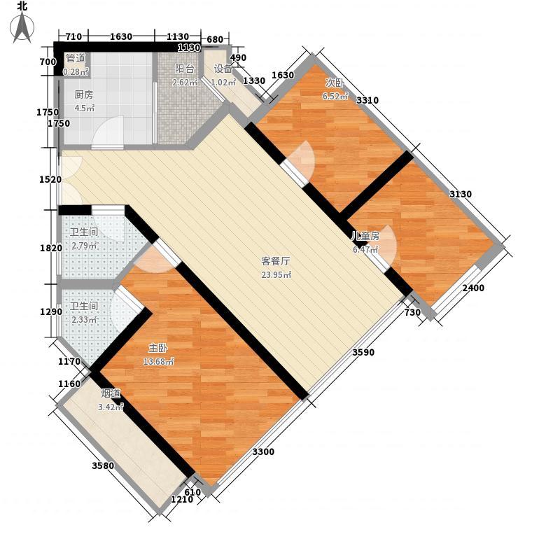 麟恒中心广场7.00㎡C09户型3室2厅2卫1厨