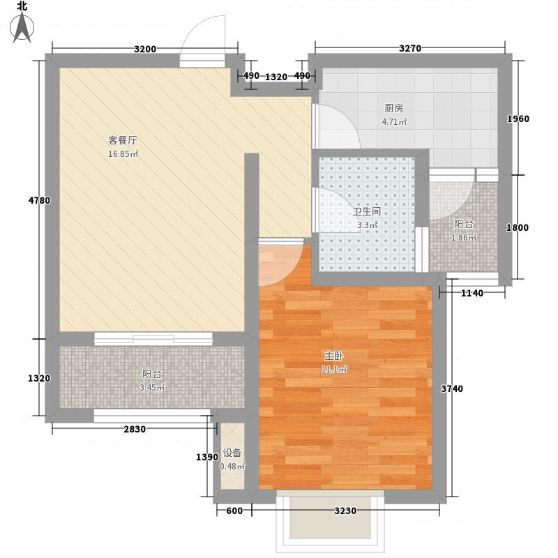 国基城邦62.00㎡A户型1室1厅1卫1厨