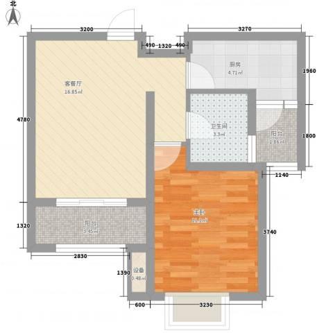 国基城邦1室1厅1卫1厨62.00㎡户型图