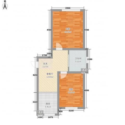 咖啡小镇2室1厅1卫1厨73.00㎡户型图