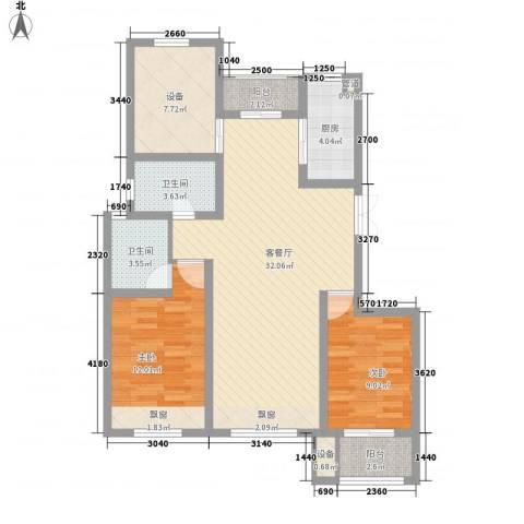 国基城邦2室1厅2卫1厨113.00㎡户型图