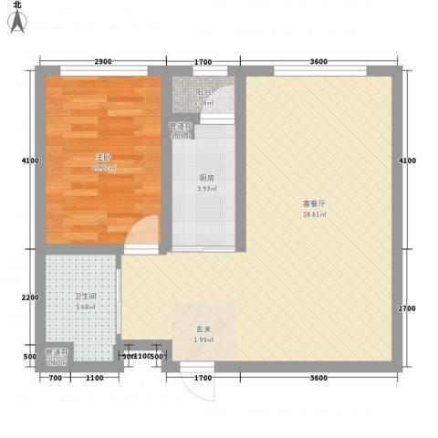咖啡小镇1室1厅1卫1厨67.00㎡户型图