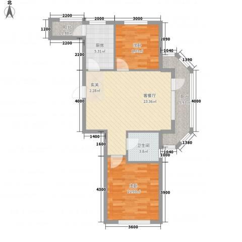 融通大厦2室1厅1卫1厨88.00㎡户型图