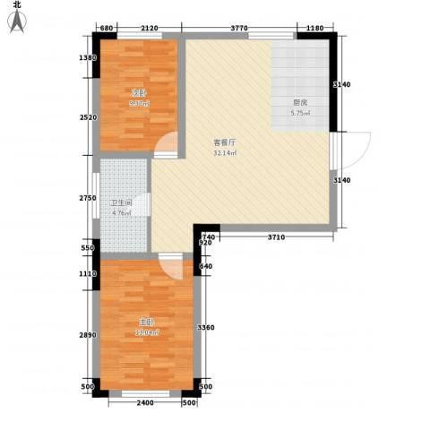 清泉旺第2室1厅1卫0厨74.00㎡户型图
