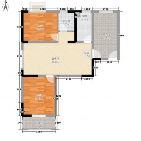 隆昊昊博园2室1厅1卫1厨76.09㎡户型图