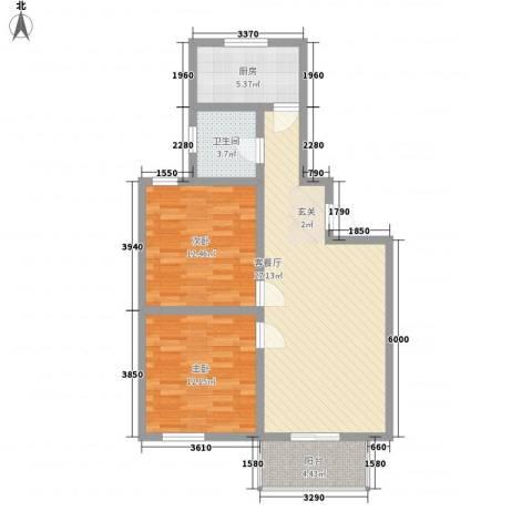 南艳滨湖时光2室1厅1卫1厨89.00㎡户型图
