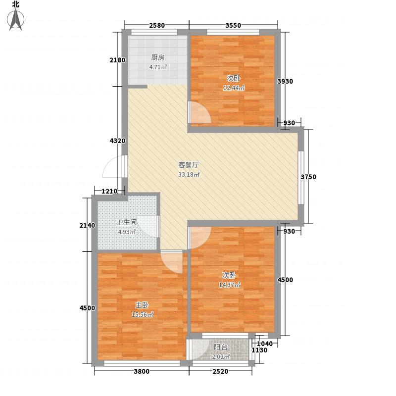 金润花园三期户型图92b#、93b#楼D户型 3室2厅1卫1厨