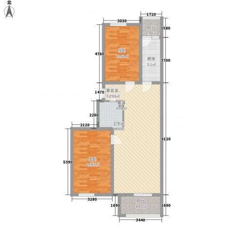大陆榕花汇2室1厅1卫1厨76.45㎡户型图