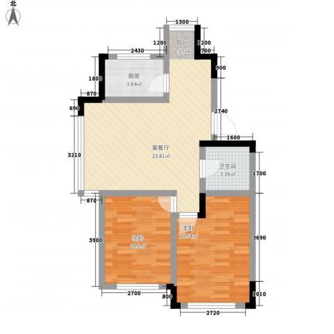 清泉旺第2室1厅1卫1厨77.00㎡户型图