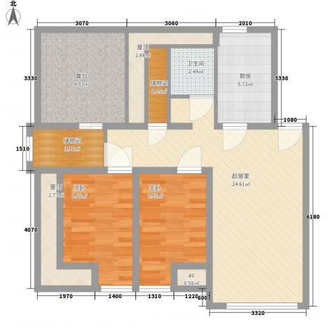长春豪园2室0厅1卫1厨101.00㎡户型图