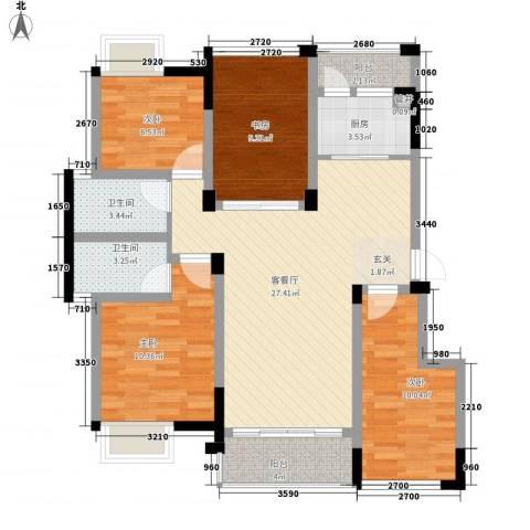 南湖学府4室1厅2卫1厨118.00㎡户型图
