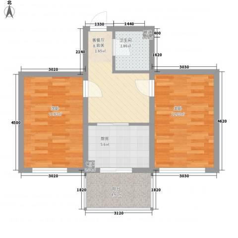 上城俪园2室1厅1卫1厨61.00㎡户型图