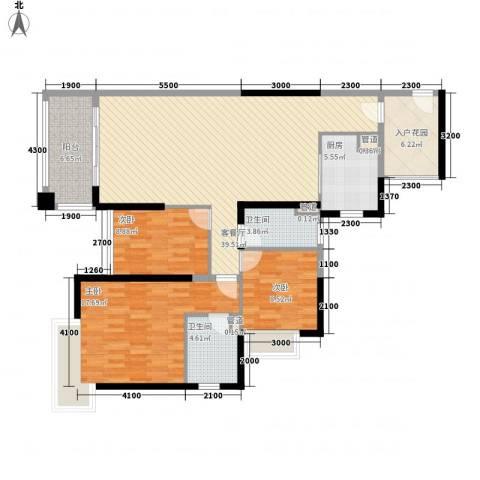 保利高尔夫郡别墅3室1厅2卫1厨145.00㎡户型图
