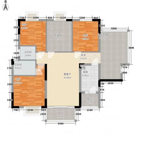 新长江顺心居3室1厅2卫1厨121.00㎡户型图
