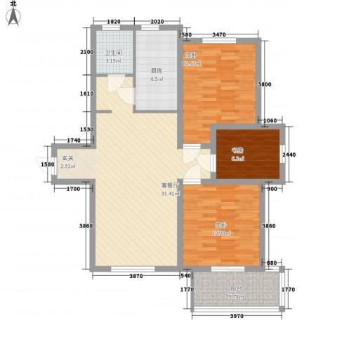 南艳滨湖时光3室1厅1卫1厨94.00㎡户型图