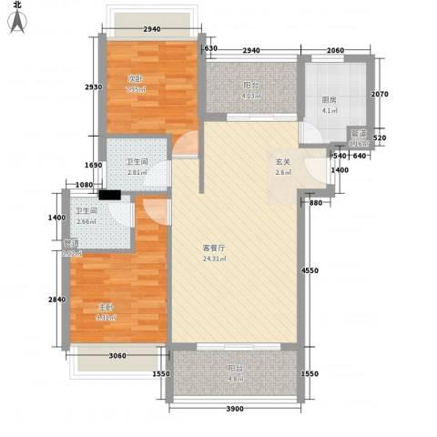 汇景新城2室1厅2卫1厨88.00㎡户型图