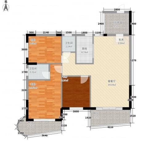 碧海蓝天台湾城3室1厅2卫1厨135.00㎡户型图