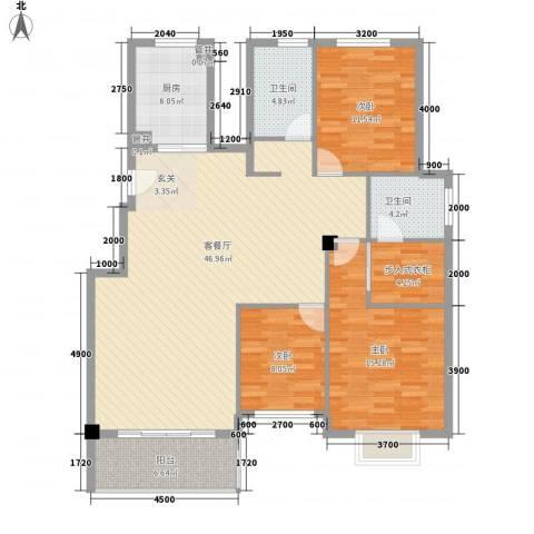 雅戈尔西湖花园3室1厅2卫1厨150.00㎡户型图