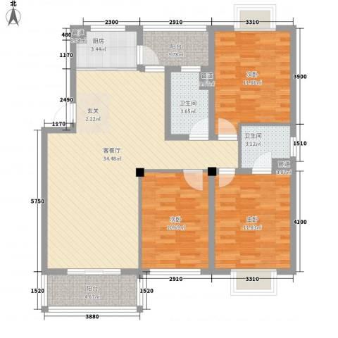 华泰剑桥3室1厅2卫1厨127.00㎡户型图