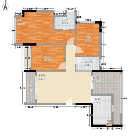 金沙美地3室1厅2卫1厨91.53㎡户型图